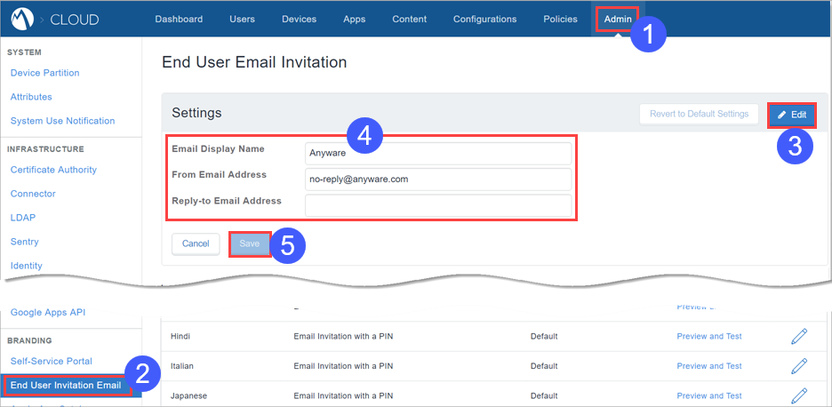 Mobileiron Cloud Help Admin End User Email Invitation Branding