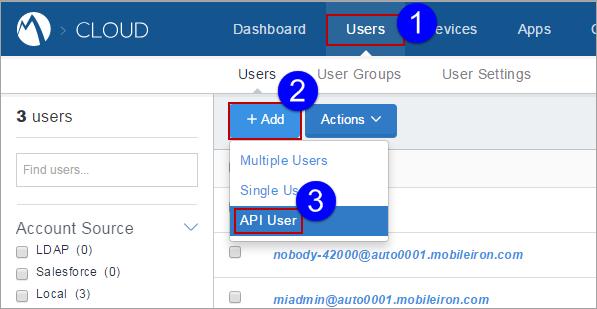 MobileIron Cloud Help - Adding an API User